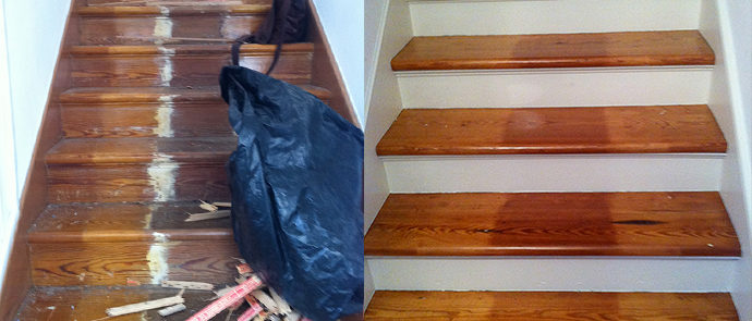 Paint Stripping And Removal Of Paint, Tacs And Wood Stain To Restore This  Staircase.